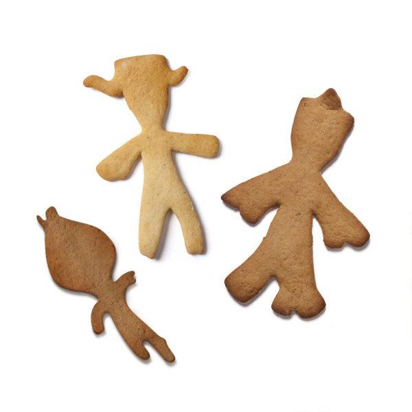 Pepperkakeformer Knerten, Karoline og Lille Knerten med Kjevle