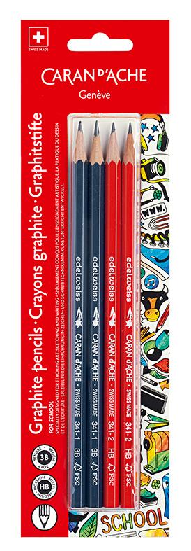 Caran d'Ache blister grafitt blyanter 3B-HB 4 stk