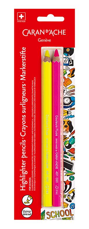 Caran d'Ache blister Maxi fluo fargeblyanter rosa og gul 2 stk