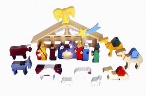 SRI Toys Trelekesett Jesu Fødsel Med Stall-0