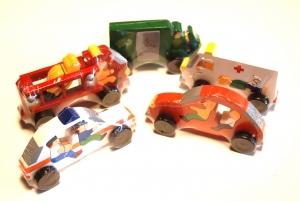 SRI Toys Trelekesett Fem Store Puslebiler-0