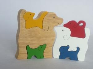 SRI Toys Klossepuslespill Hunde Familie-0